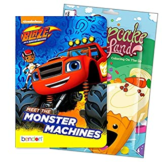 Primary Colors Shaped Board Book Set for Early Readers Bundle Includes Separately Licensed Activity Pack with Stickers Crayons and Learning to Read Bookmark for Kids (Blaze and The Monster Machines)