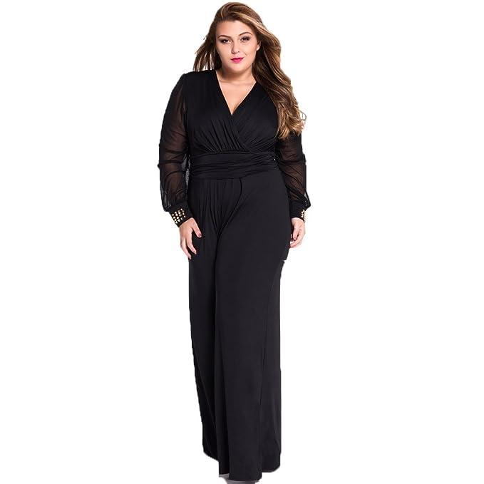 9e18380daa08 YINUOWEI Women Plus Size Jumpsuit Romper Party Playsuit Long Club Pants  Dress (2XL