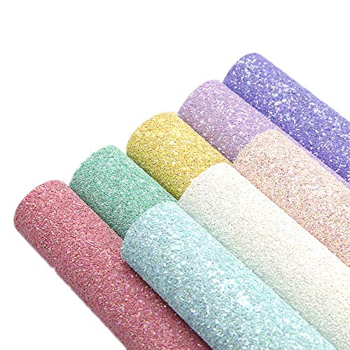 David accessories Chunky Glitter Crude Stereoscopic Sequins Faux Leather Sheets Synthetic Leather Fabric 8 Pcs 8