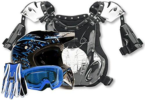 Adult Offroad Helmet Goggles Gloves Chest Protector GEAR COMBO Motocross ATV Dirt Bike BLUE Splatter ( Large )