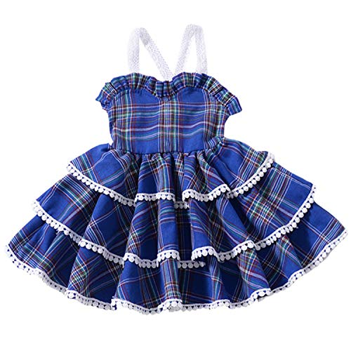 Toddler Baby Girl Valentine's Day Clothes Spring Outfit Princess Lace Dress Plaid Tiered Skirt (Blue Plaid, 6-12 Months)