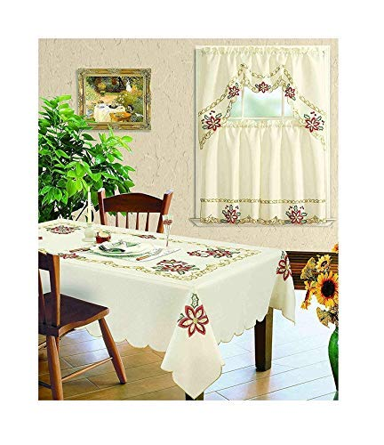 All American Collection New Table Cloth Christmas Holiday Design Embroidered Available Matching Kitchen Curtain