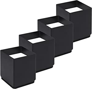 N+A RCHYFEED Square Furniture Risers Solid Steel Bed Riser, 4Pack Upgraded Version with Edge Guard Lifts, Adds 2 inch Height to Heavy Duty Furniture,Table, Sofa and Bed, Black