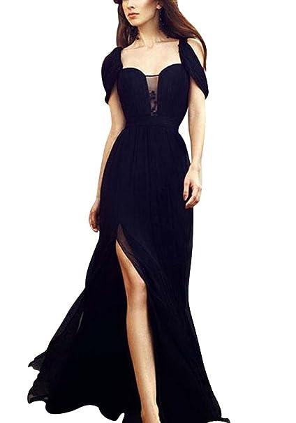 c3119b09a9b9 Donna Vestito in Chiffon Lungo Abito da Cerimonia Elegante Vestiti da  Matrimonio Lunghi Vestito Sera Nero