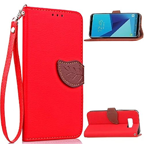 Galaxy 2016 A9 Case, Very Light Slim Natural Leaf Lid Design Bling Soft Wallet Card Slots Cover, WEIFA 2018 Newest Super Cool Thin Anti-Scratch Protection Cellphone Case for Samsung Galaxy A900 Red