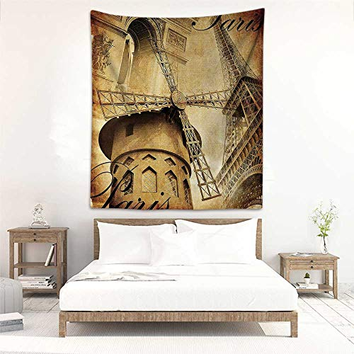 Tapestry Wall Hanging Eiffel Tower Decor Collection Parisian Architecture Monument Vacation Tourist Destination Vintage Style Pattern Home Decorations for Bedroom Dorm Decor 47