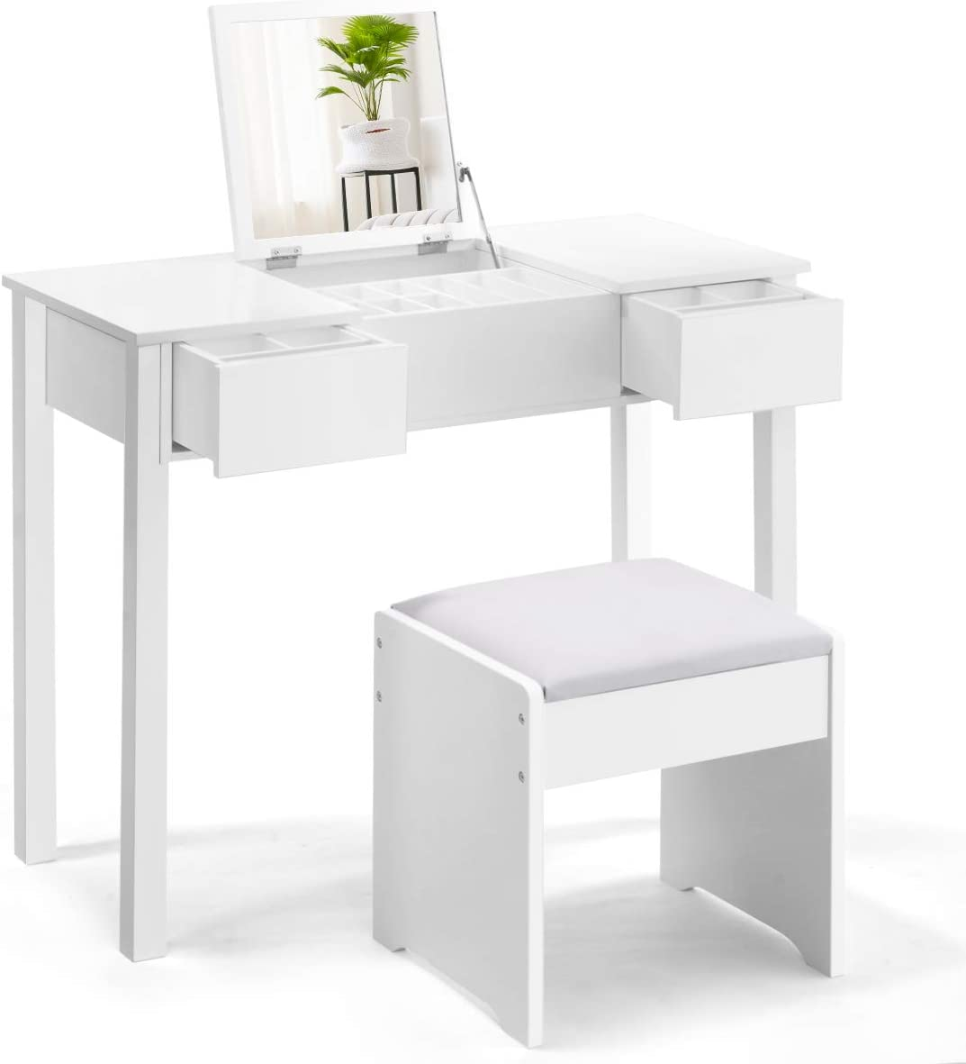 Vanity Makeup Dressing Table Set Girl Makeup Desk W//Flip up Mirror Stool White