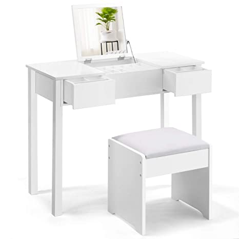 Admirable Giantex Vanity Set With Flip Top Mirror And Cushioned Stool Makeup Dressing Table Writing Desk With 2 Drawers 3 Removable Organizers Makeup Table Gmtry Best Dining Table And Chair Ideas Images Gmtryco
