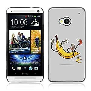 A-type Arte & diseño plástico duro Fundas Cover Cubre Hard Case Cover para HTC One (M7) ( Plátano Slip Ilustración divertido )