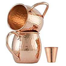Moscow-Mix 100% Solid Pure Copper Moscow Mule Mug with FREE SHOT GLASS [16Oz] [Hammered] [Set of 2]