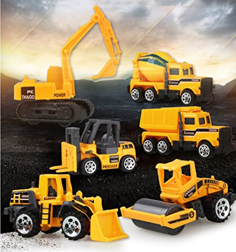 Kids Set City Construction 6 in 1 Engineering car suit toy, include: Kids Dumper,Bulldozers,Forklift,Tank Truck,Asphalt Car and Excavator Preschool Learning for Children Toddlers Kids Birthday Gift