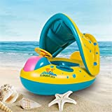 Yeasing Swimming Ring for Baby Kids Children Inflatable Swim Float Boat with Adjustable Sunshade Beach Pool Water Toys