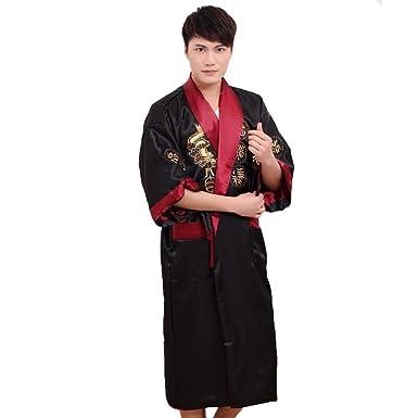 Kimono vestaglia accappatoio giapponese reversibile per luomo nero e rosso modello drago