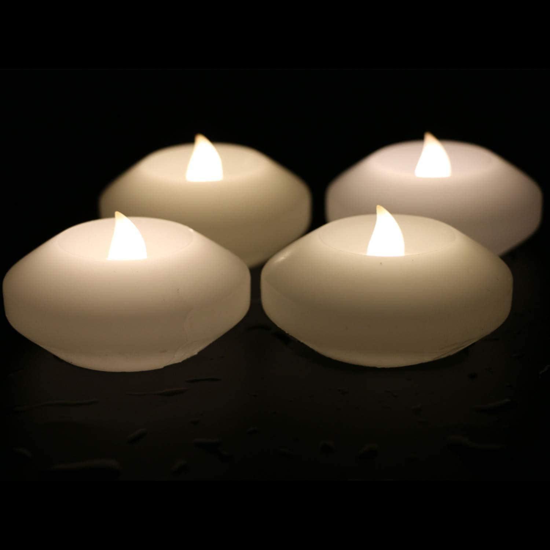 Bougies sans Flammes r/éalistes imperm/éables Uonlytech Bougie Flottante de LED 12pcs, lumi/ère Blanche Chaude lumi/ères de th/é de LED pour Le Festival de Noce