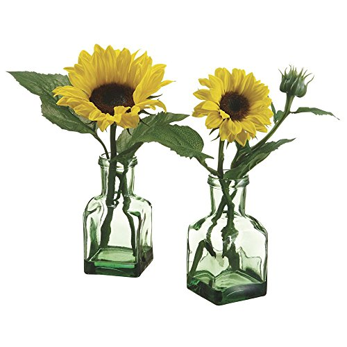 Sunflower Floral in Glass Vase Yellow Polysilk - 11