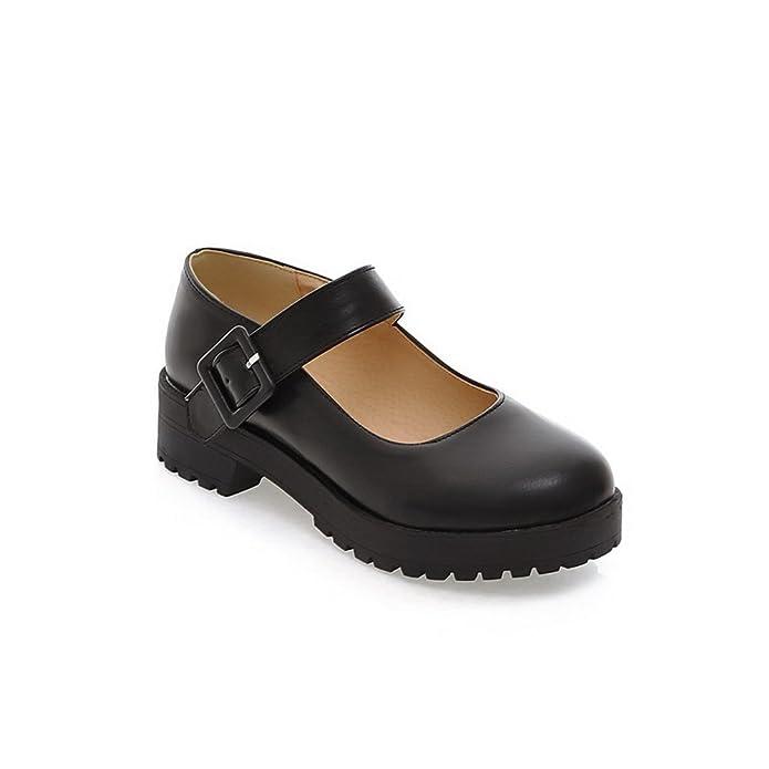 Womens Chunky Heels Buckle Platform Urethane Mary-Jane-Flats