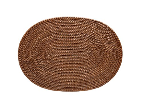KOUBOO Oval Rattan Placemat, Honey Brown, Set of 2 (Oval Rattan)