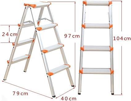 N/A Escalera Plegable para el Hogar: Escalera de Cuatro O Cinco Escalones, Escalera de Doble Cara de Aluminio Grueso, Taburete de Tiro, Escalera Pequeña, Taburete de Caballo,Naranja,D: Amazon.es: Deportes y aire libre
