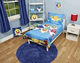 Baby Shark 4 Piece Toddler Bedding Set - Includes Quilted Comforter, Fitted Sheet, Top Sheet, and Pillow Case