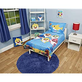 Baby Shark 4 Piece Toddler Bedding Set - Includes Quilted Comforter, Fitted Sheet, Top Sheet, and Pillow Case 2