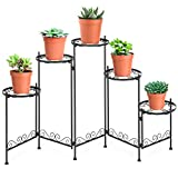 Best Choice Products 28in 5-Tier Indoor Outdoor Multi-Level Metal Folding Flower Plant Pot Display Holder Stand - Black