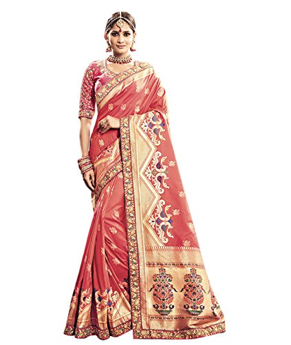 Indian Ethnicwear Pure Banarasi Silk Peach Coloured Handloom Saree with Double Blouse by Maahir Garments