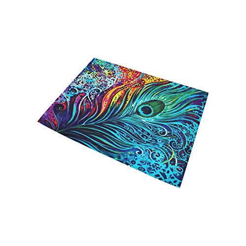 ADEDIY Personalized Rug Abstract Art Colorful Peacock Feathers Area Rug 5'3''x4' Floor Rug for Living Room Bedroom