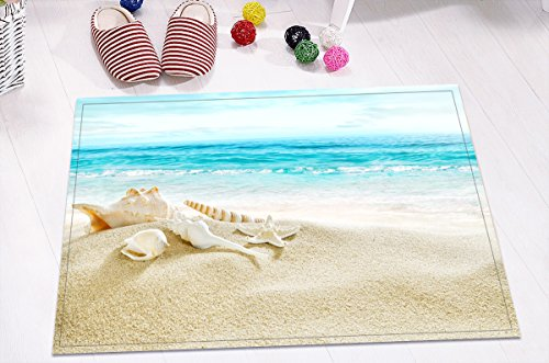 LB Nautical Theme Print Bathroom Rugs Print, Non Slip Backing Soft Flannel, Seashell Starfish on Sand Beach by Blue Ocean Sea 15.7 x 23.6 ()