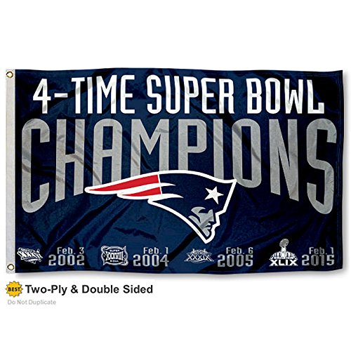 New England Patriots Double Sided 4 Time Super Bowl Champions Flag