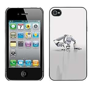 "For Apple iPhone 4 / 4S , S-type Robot Blanca"" - Arte & diseño plástico duro Fundas Cover Cubre Hard Case Cover"