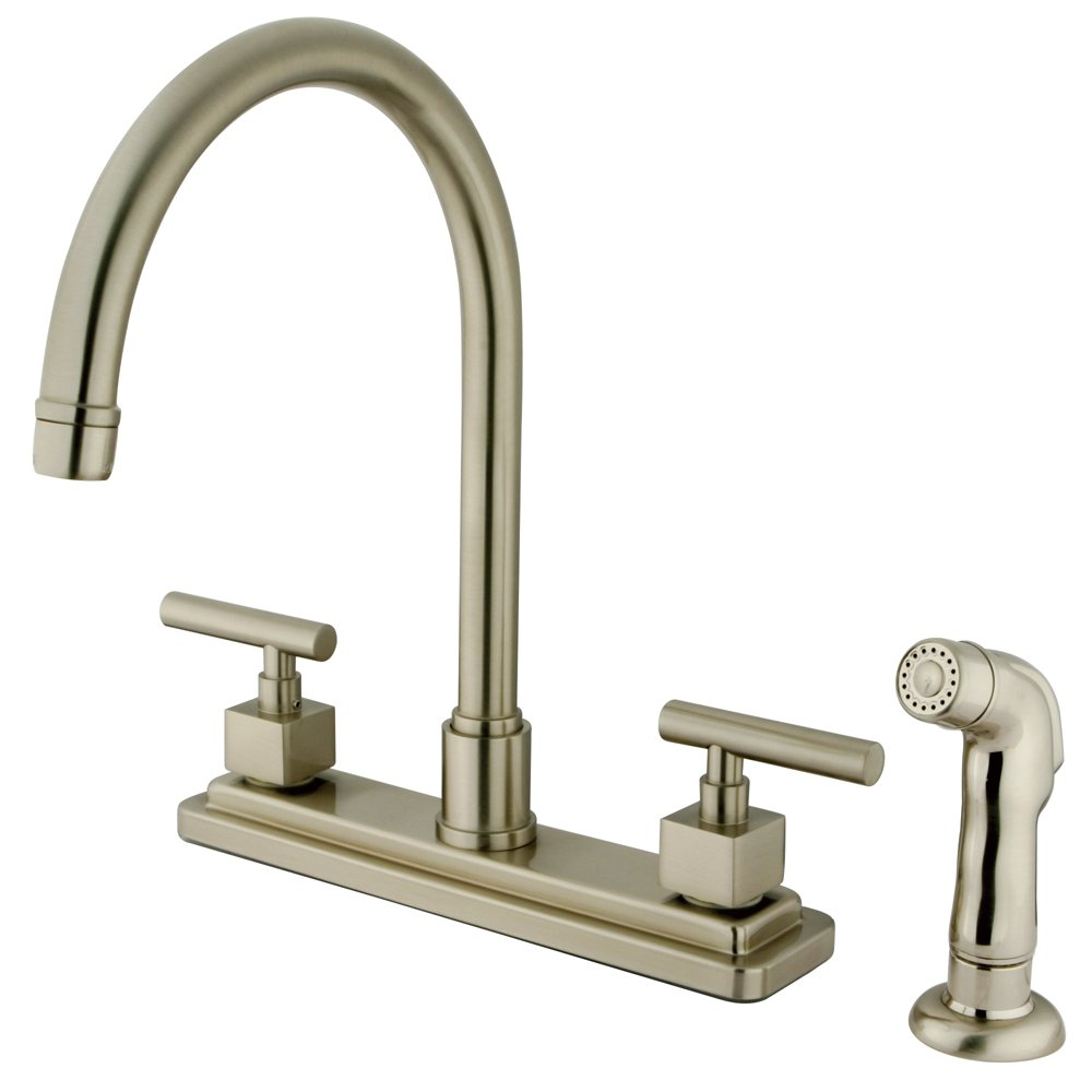 "Kingston Brass KS8798CQL Claremont Kitchen Faucet with ABS Sprayer, 8"", Brass/Antique Brass"