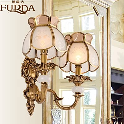 BL Modern retro European-style Wall lamp luxury mirror lamp living room bedroom study American country bed copper Wall lamp 430*370mm, Bathroom Mirror Lamps (110-120V)