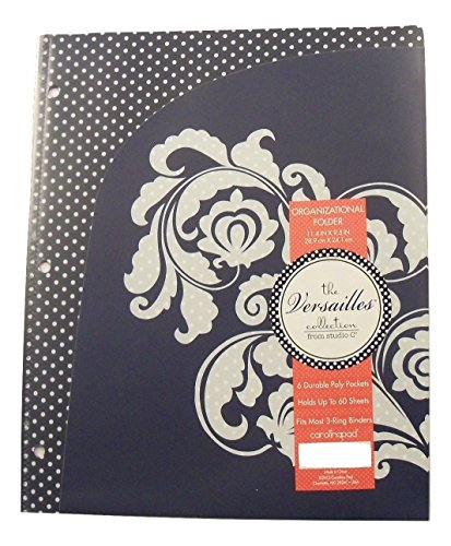 Carolina Pad Studio C 6 Pocket Organizer ~ Versailles (Red, Teal and Navy with White Floral Scroll)