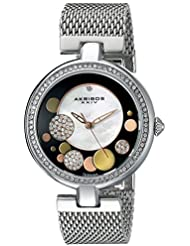Akribos XXIV Womens AK881SSB Round White Mother of Pearl, Black, Silver, and Gold Dial Three Hand Quartz Bracelet...
