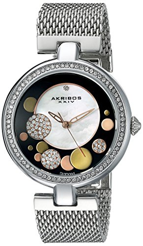 Akribos XXIV Women's AK881SSB Round White Mother of Pearl, Black, Silver, and Gold Dial Three Hand Quartz Bracelet Watch