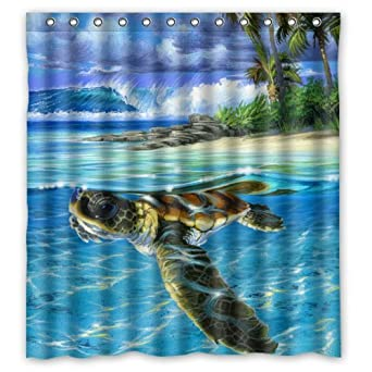 Amazon Best Funny Sea Turtle Shower Curtain Rings Included 100 Polyester Waterproof 66 X 72 Clothing