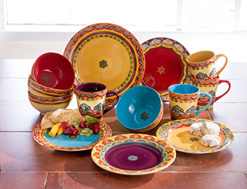 Euro Ceramica Galicia Collection Andalusian-Inspired 16 Piece Ceramic Dinnerware Set, Vibrant Assorted Patterns, Multicolor - Galicia Collection