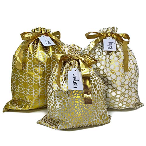 Appleby Lane Reusable Fabric Gift Bags (Large Set, Gold) - Set of 3 Bags, Two 16x20 inch and one 12x16 inch