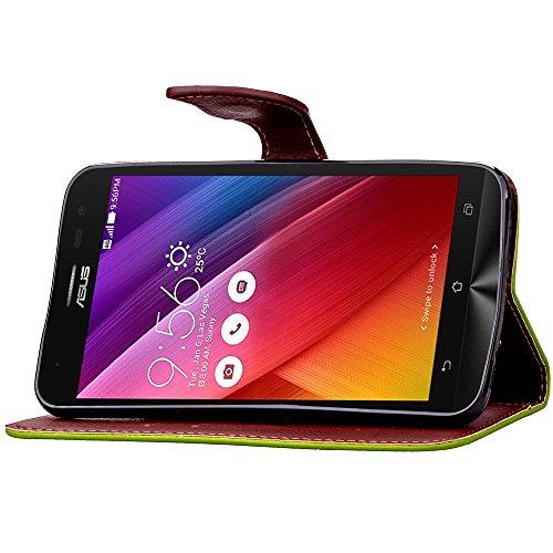 Asng Asus ZenFone 2 Laser (ZE500KL) 手帳型 カラフルレザーケース ( エイスース SIMフリー 5インチ 楽天モバイル 対応 ) 画面保護 / スタンド / ICカード収納 / ストラップホール Leaf Design TPU Case + ストラップセット (緑&茶)