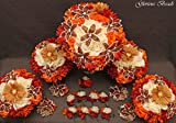 Fall BEADED LILY and Bridal Wedding Flower 18 piece package with Roses, Mums, Gerber Daisy, Dahlia ~ Unique French beaded Copper Colored Lily flowers.