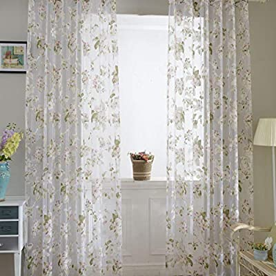"BROSHAN Willow Voile Tulle Window Curtain 78"" x 39"" Sheer Window Voile Panel Drapes Curtain Green Voile Curtains Window Treatment"