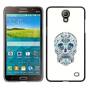 Caucho caso de Shell duro de la cubierta de accesorios de protección BY RAYDREAMMM - Samsung Galaxy Mega 2 - Cráneo Teal blanco del estampado de flores de la Muerte