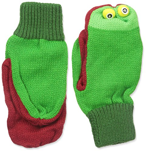 Kidorable Green Frog Soft Acrylic Knit Mittens With Fun Frog Puppet Mouth and Eyes, Large (Ages 9+) Froggy Collection