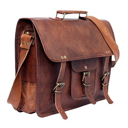 Cool Stuff Leder Umhängetasche Laptoptasche 15 Zoll Ledertasche Vintage Ledertasche Unitasche Collegetasche Lehrertasche Bürotasche Arbeitstasche Aktentasche Henkeltasche Groß Braun