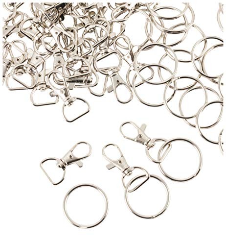 Swivel Lanyard Snap Hook - 100-Pack Metal D-Ring Lobster Clasps and Split Key Rings, 50 of Each, for Home Office DIY Hardware, Silver