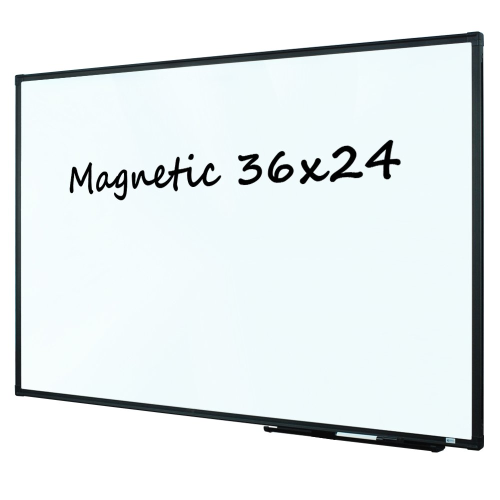 Lockways Magnetic Dry Erase Board, Whiteboard 36 x 24 Inch, White Board 3 x 2, Ultra-Slim Black Aluminium Frame, 1 Aluminum Marker Tray, 1 Dry Erase Markers, 2 Magnets for School, Home, Office by Lockways