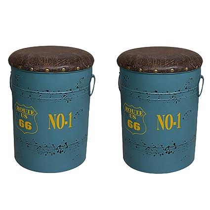Silla de bar retro, Taburete de tambor de aceite de hierro forjado, Banco de