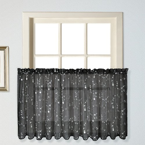 UPC 021371026215, United Curtain Savannah Kitchen Tiers, 51 by 24-Inch, Black, Set of 2