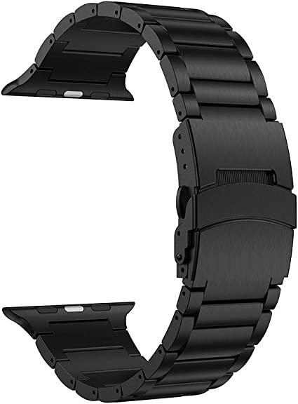 LDFAS Compatible for Apple Watch Band 44mm/42mm, Sport Stainless Steel Metal Replacement Strap with Safety Buckle Compatible for Apple Watch Series ...