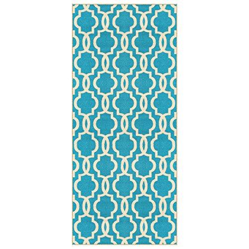 custom size light blue moroccan trellis rubber backed nonslip hallway stair runner rug 31in x 7ft